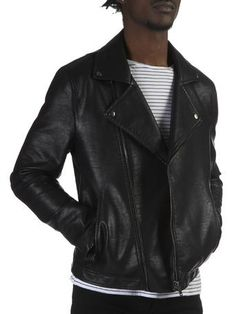 Black leather look asymmetric jacket Burtons