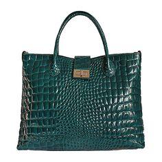 Twist Lock Peacock Green Patent Croc Leather Handbag