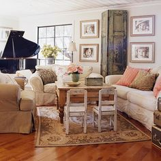 This living room set up is perfect. The large sofa is against a solid wall. The love seat and chair are situated to encourage socializing and talking vs. focused on an object like TV or Fireplace. This arrangement also includes the two small chairs, inviting small children into the group, rather than put them somewhere to the side. #livingRoom. #FengShui #Home. http://patricialee.me Give Them the Slip