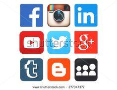 KIEV, UKRAINE - MAY 12, 2015:Collection of popular social media logos printed on paper:Facebook, Twitter, Google Plus, Instagram, MySpace, LinkedIn, YouTube, Tumblr and Blogger - stock photo
