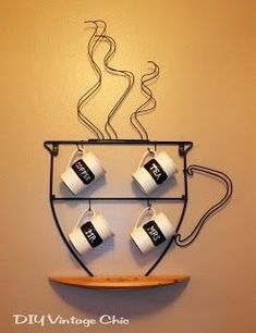 DIY Vintage Chic: Chalkboard Coffee Mugs.nevermind the mugs. Vintage Chic, Diy Vintage, Coffee Shop Design, Cafe Design, Coffee Mug Holder, Coffee Cups, Coffee Latte, Painted Coffee Mugs, Decoration Vitrine