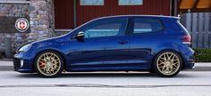 VW Golf GTI MK6 Blue R40 Satin Gold by HRE Wheels, via Flickr Vw Golf Gt, Vw Golf R Mk7, Golf 1, Volkswagen Golf, Gti Car, Mk6 Gti, Gold Wheels, Dream Cars, Satin