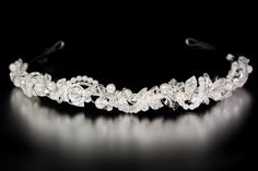 Pearl Bridal Headband with Twisted Crystal and Rhinestone Leaves