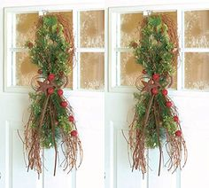 Set of 2 Christmas Decoration Holiday Teardrop Swag Rustic Star Berries Grapevine Door Hanging Wall Winter Wreath Decoration KNL Store