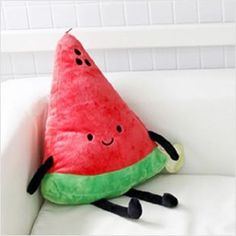 Watermelon Pillow I didn't make one with limbs tho lol … (Diy Pillows Cushion) Food Pillows, Cute Pillows, Diy Pillows, Kawaii Plush, Cute Stuffed Animals, Pillow Quotes, Plushies, Softies, Kids Room