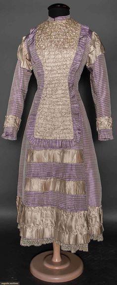 Girl's Purple Stripe Bustle Dress, 1870s, Augusta Auctions, April 8, 2015 NYC, Lot 27