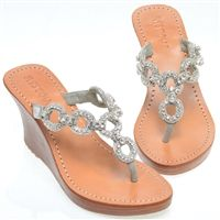 Jeweled Wedges & Heels With Jewels Silver Sandals, Leather Sandals, Wedge Sandals, Shoes Sandals, Mystique Sandals, Fin Fun Mermaid, Jeweled Sandals, Wedge Flip Flops, Palm Beach Sandals
