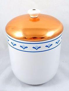 """White Ceramic Canister Copper Lid Cookie Jar Portugal Vintage 7.5"""" Blue Floral"""