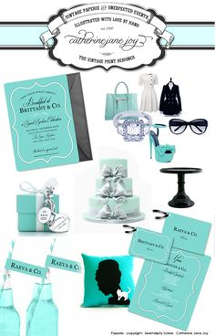 Breakfast at Tiffany's Collection - by Catherine Jane Joy - Serendipity Soiree: {A client favorite} And I said what about breakfast at Tiffany's? Breakfast at tiffany's collection available in our shop - https://www.etsy.com/listing/109068210/breakfast-at-tiffanys-custom-printable