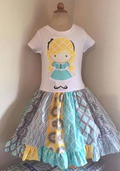 7d23a658c17c Alice In Wonderland Appliqued T Shirt Dress Available from 12m to 14 16  Alice In