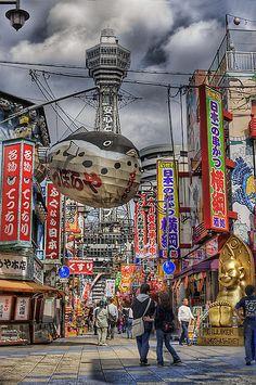 "✮ Tower Reaching Heaven - Osaka, Japan Tower Reaching Heaven From wikipedia: Tsūtenkaku (通天閣), lit. ""Tower Reaching Heaven"", owned by Tsūtenkaku Kanko Co., Ltd. is a well-known landmark of Osaka, Japan and advertises Hitachi, Ltd. It is located in the Shinsekai district of Naniwa Ward, Ebisu Higashi 1-18-6."