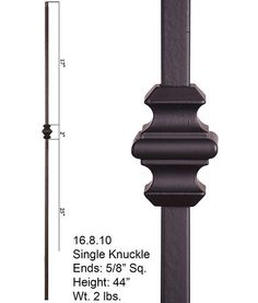Features The 16.8.10 single knuckle square hollow baluster features a single 2…