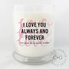 Great Valentines Day Gift! Personalized soy candle