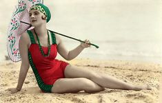 vintage everyday: Flapper Fashion – 49 Incredible Colorized Postcards of Cool Girls in Swimsuits during the 1920s