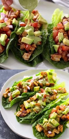 Lettuce wraps filled with spicy taco-spiced chicken, avocado, tomato, and drizzled with a zesty cilantro lime sauce. This healthy nutritious low-carb meal is a delicious protein packed option and great if you are on a low-carb, paleo or keto diet! Good Healthy Recipes, Healthy Meal Prep, Easy Healthy Dinners, Healthy Chicken Recipes, Lunch Recipes, Healthy Dinner Recipes, Healthy Snacks, Healthy Eating, Cooking Recipes