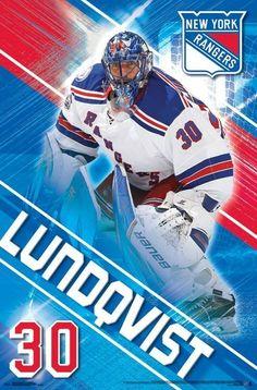 Henrick Lundqvist - New York Rangers Ice Hockey Poster.