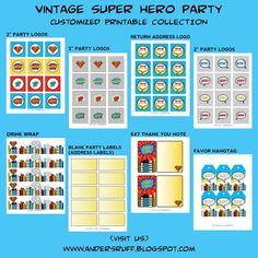 Fabulous Features by Anders Ruff Custom Designs: {Giveaway Winner} Our Vintage Super Hero Birthday Party Customized Printables Collection