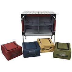 If i really am forced to go camping.Camp Chef Sherpa Camp Table and Organizer (Brick) want! Camping Bedarf, Camping Table, Best Camping Gear, Camping Gifts, Camping Checklist, Camping World, Camping Survival, Family Camping, Camping Hacks