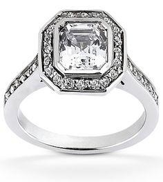 Ascher cut diamond engagement ring with octagon diamond halo www.samuelkleinberg.com