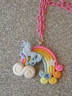 Pastel Unicorn Rainbow Necklace by SugarPopPartyShop on Etsy, $12.00