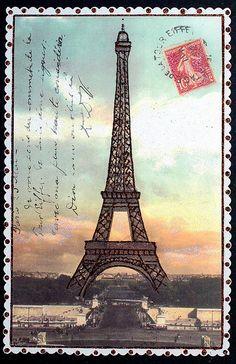 Cartão postal Torre Eiffel selo
