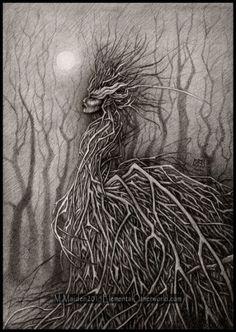 Queen of Sticks, A4 signed PRINT of my original drawing, faery, faerie art, dark art, pagan art, woodland, nature spirit, monochrome, tree