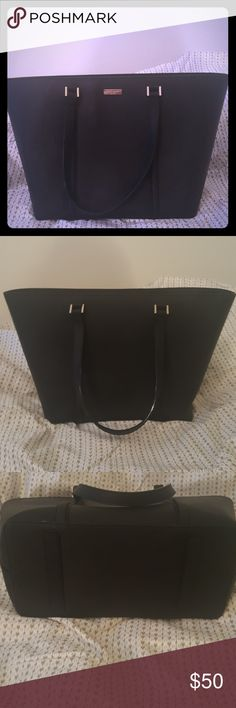Black Kate Spade tote Black Kate Spade tote. Saffiano leather feel/look. Super cute for everyday use or if you need to dress up. No signs of wear/tear or damages to outside of bag or around edges. Bag does need to be wiped down on inside, no big blemishes to fabric on inside but wiping inside fabric with cleaner will have it looking brand new! Reasonable offers will be considered!!! Cleaning out my closet, my loss is your gain. kate spade Bags Shoulder Bags
