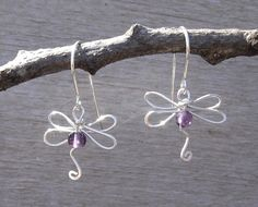 February Birthstone Dragonflies- Dragonfly Earrings With Amethyst  Sterling by nicholasandfelice