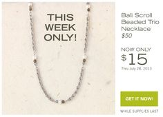 Bali Scroll: Beaded Trio Necklace - Only $15!  Hurry and order before they are all gone - gracefuldesigns.willowhouse.com