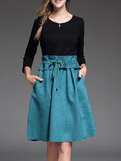 Shop Midi Dresses - Blue Color-block Casual Midi Dress online. Discover unique designers fashion at StyleWe.com.
