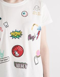 RETRO T-SHIRT WITH PATCHES - T-SHIRTS & TOPS - WOMAN - PULL&BEAR Turkey