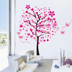 Beautiful wall sticker with pink butterflies and flowers. Elegant and simple. Applies easily, customize to fit your tastes. Perfect accent for any room.