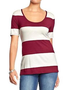 Womens Rugby-Striped Scoop-Neck Tees NWT XS $7