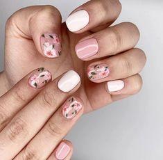 53 Awesome Cherry Blossom Nail Art Designs and Ideas - Floral nail art - Blush Nails, Floral Nail Art, White Nail Art, Minimalist Nails, Cute Nails, Pretty Nails, Cherry Blossom Nails, Cherry Blossoms, Cherry Nails