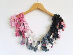 Crochet Scarf / Pink - Gray - Black