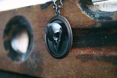 Brass Raven Skull Necklace - Black Skull Necklace - Gothic Necklace by Kruel Intentions #kruelintentions #skull #goth