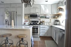 Martha Stewart Living Bedford Gray Interior Paint on cabinets