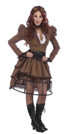 Amazon.com: Forum Steampunk Vickie Complete Costume, Brown, One Size: Clothing