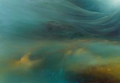 "Artist Samantha Keely Smith paints abstract oceanic landscapes that are at once menacing and serene, a clash of light and color that she refers to as ""internal landscapes."" Using oil paint, enamel, and shellac, Smith uses an additive and subtractive process by partially destroying her progress sever"