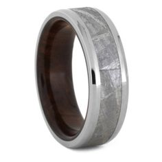 Beveled Meteorite Wedding Band, Ironwood Ring, Size 9.5-RS9440