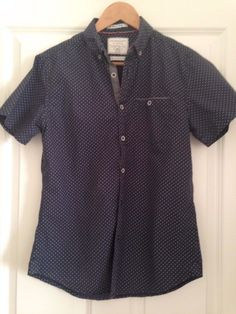Men's Casual Small Slim Fit 100% Cotton Polka Dot Short Sleeve Shirt Top   | eBay