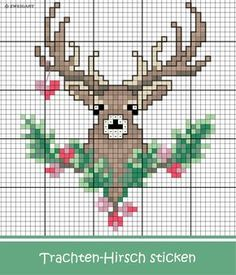 Trachten-Hirsch embroider for Oktoberfest - Discover numerous free charts for embroidery! - Embroider beautiful deer motif for a bag for the Oktoberfest / - Blackwork Embroidery, Embroidery Kits, Embroidery Stitches, Knitting Blogs, Knitting Charts, Cross Stitch Cards, Cross Stitching, Winter Crafts For Toddlers, Christmas Cross