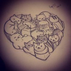 """Drawing a day, day 351: neko atsume "" #CatDrawing"