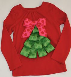 Christmas Shirt Ribbon Tree Red 1218 months by lilybloom on Etsy, $25.00