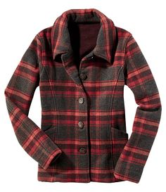 Maverick Jacket - Title Nine. This plaid jacket looks so warm for fall & winter and with the right accessories such as jeans a sweater, scarf and boots could look so cute!