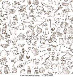 Seamless texture with of kitchen doodle sketch utensils hand-drawn with ink. Can be used for wallpaper, pattern fills, textile, web page background, surface textures.Vector illustration.