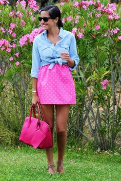 chambray shirt tied at the waist + bougainvillea pink dress
