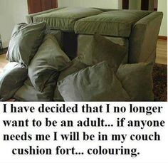 I have decided that I no longer want to be an adult...if anyone needs me I will be in my couch cushion fort...coloring.