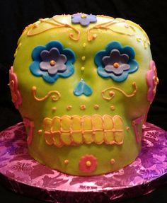 Niece Kirsten's self made birthday cake.  Awesome skull.
