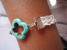 SALE Turquoise Clover Bracelet / White Braided Leather by LDnest, $7.99